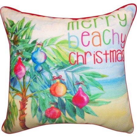 Brighten the Season Merry Beachy Christmas Pillow