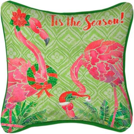 Brighten the Season Tis The Season Flamingo Pillow
