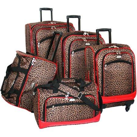 American Flyer 5-pc. Leopard Print Luggage Set