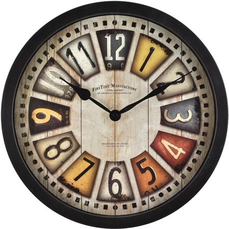 FirsTime 14'' License Plates Wall Clock