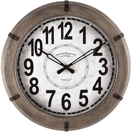 FirsTime 14'' Modern Rustic Wall Clock