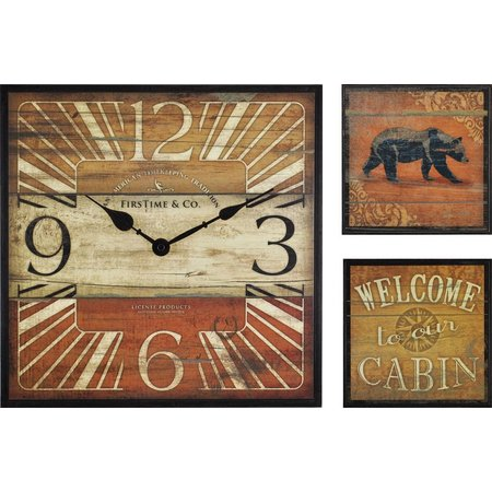 FirsTime 3-pc. Cabin Gallery Wall Clock Set