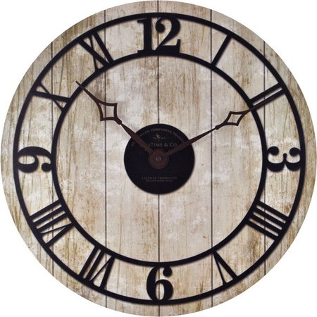 FirsTime 18'' Reclaimed Whitewash Wall Clock