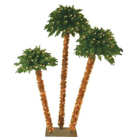 Palm Island 6 Foot Triple Lighted Palm Tree