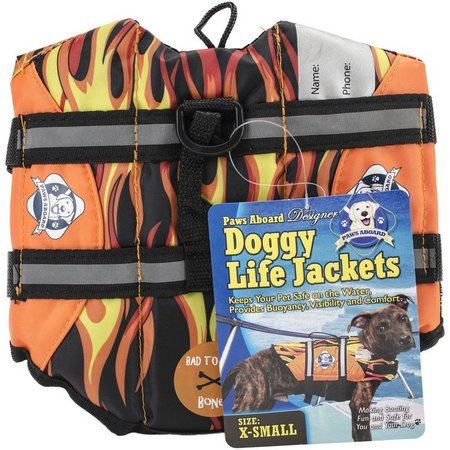 Fido Pet Paws Aboard Flames Doggy Life Jacket