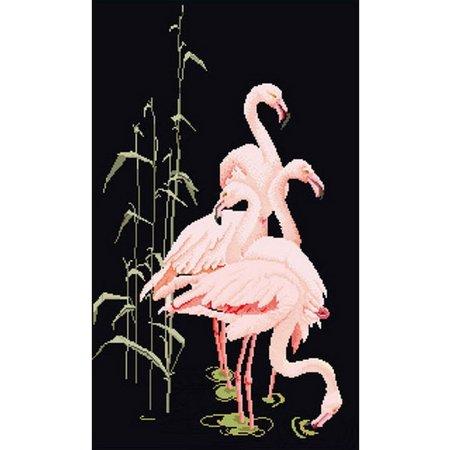 Thea Gouverneur Flamingos 18 Count Cross Stitch