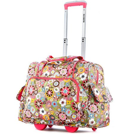 Olympia Fashion Pink Floral Rolling Overnighter