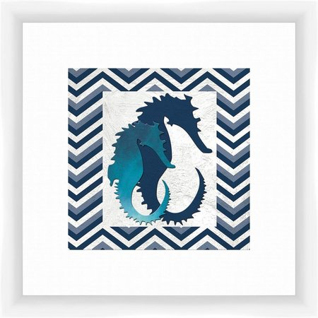 PTM Images Seahorse Duo Chevron Framed Wall Art