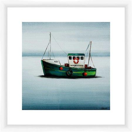 PTM Images Green Tug Boat Framed Wall Art