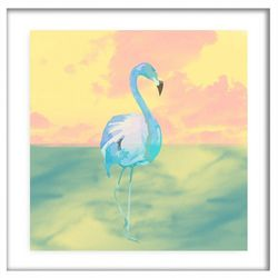 PTM Images Blue Flamingo Framed Wall Art