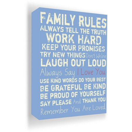 PTM Images 20'' Family Rules Blue Canvas Wall