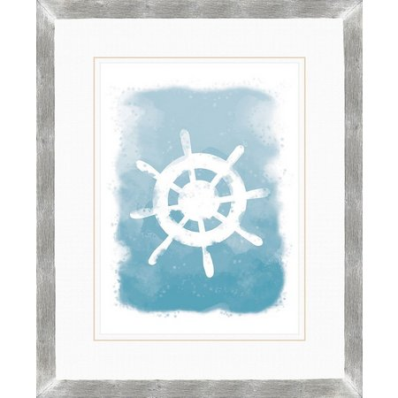 PTM Images Nautical Ship Wheel Watercolor Wall Art