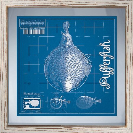 PTM Images Blueprint Coastal II Framed Wall Art