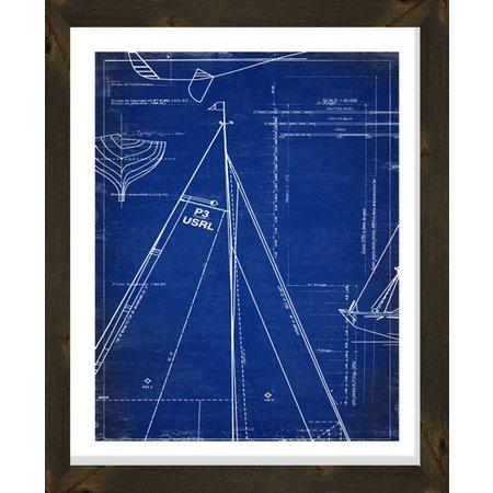 PTM Images Sailboat Sail Blueprint Framed Wall Art