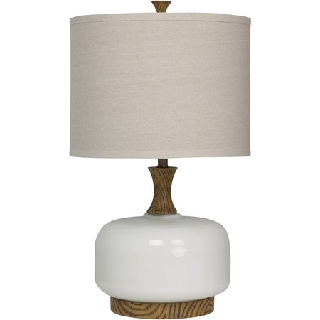 StyleCraft Transitional Wood & Ceramic Table Lamp