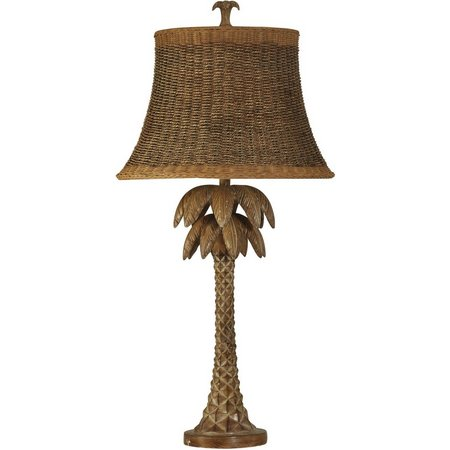 StyleCraft Hand Carved Palm Tree Table Lamp