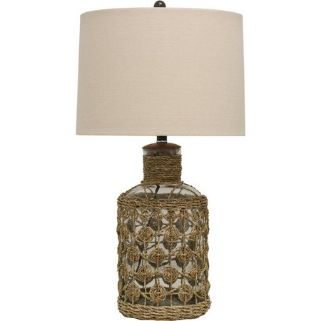 StyleCraft Glass & Seagrass Table Lamp
