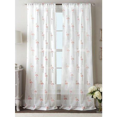 Flamingo Sheer Curtain Panel Set