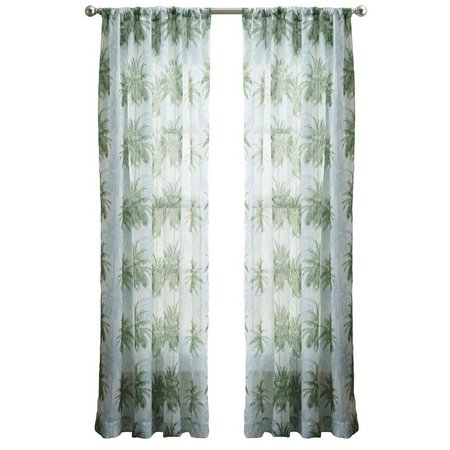 CHF Palm Tree Crinkle Voile Sheer Curtain Panel