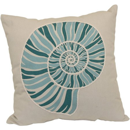 Brentwood Teal Nautilus Decorative Pillow