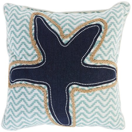 Enchante Denim & Rope Applique Starfish Decorative Pillow