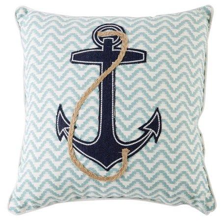 Enchante Denim & Rope Applique Anchor Decorative Pillow