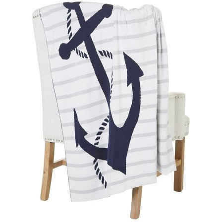 Coastal Home Anchor Knit Throw Blanket
