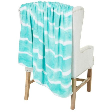Coastal Home Watercolor Wave Plush Throw Blanket
