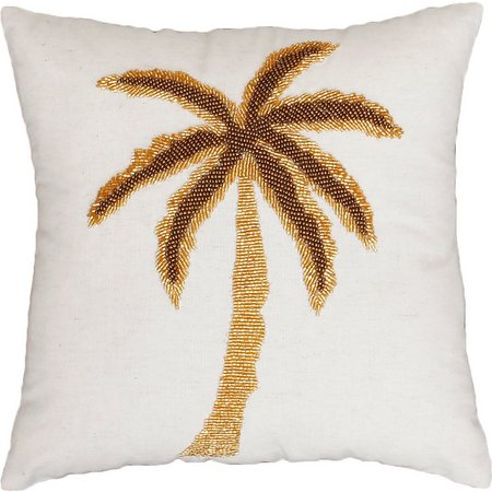 New! Thro Golden Palm Tree Decorative Pillow
