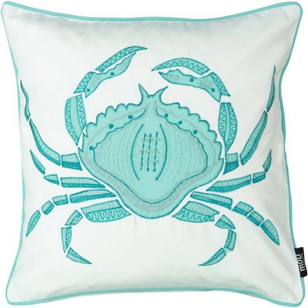 Mod Lifestyles Embroidered Crab Decorative Pillow
