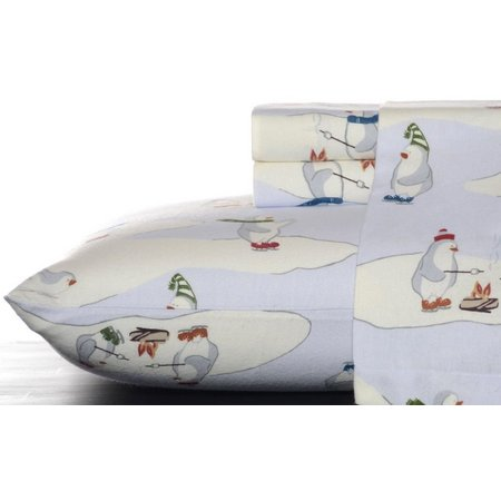 Eddie Bauer Skating Penguin Flannel Twin Sheet Set