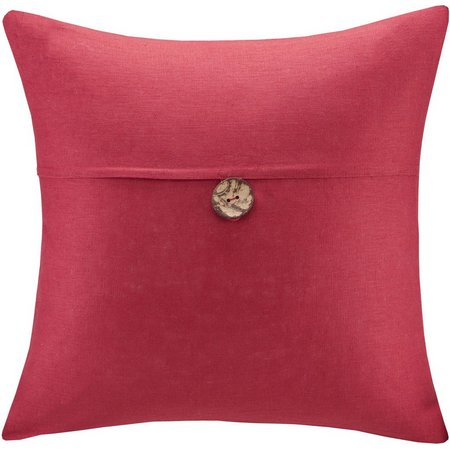 Madison Park Button Linen Square Decorative Pillow
