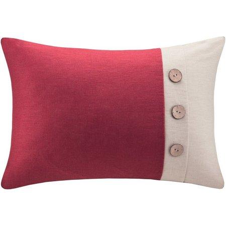 Madison Park Button Linen Oblong Decorative Pillow