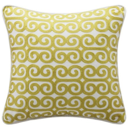 Echo Design Yellow Embroidered Decorative Pillow
