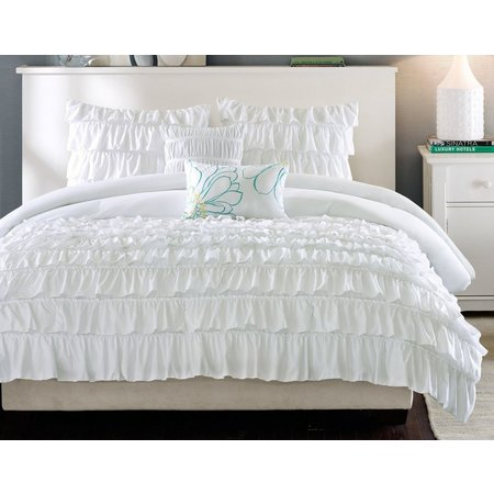 Intelligent design waterfall white comforter set bealls for Waterfall set design