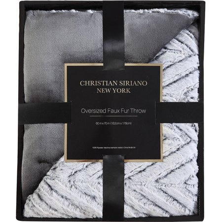Christian Siriano Chevron Grey Faux Fur Throw