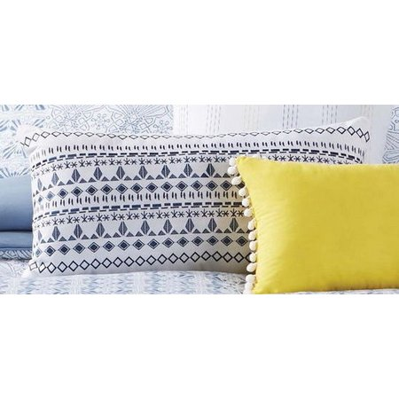 Antik Batik Indigo Embroidered Oblong Pillow