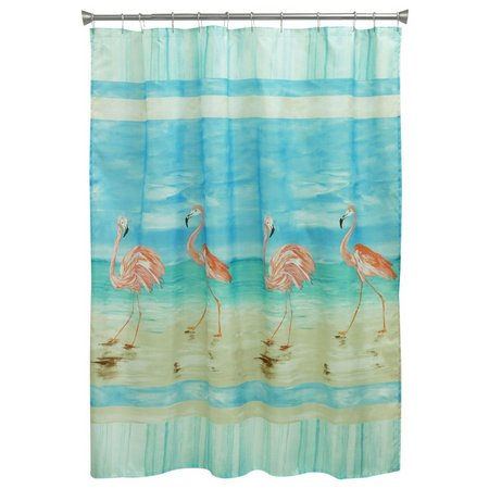 Bacova Flamingo Beach Shower Curtain