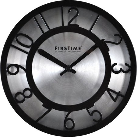 FirsTime 8'' Black On Steel Wall Clock