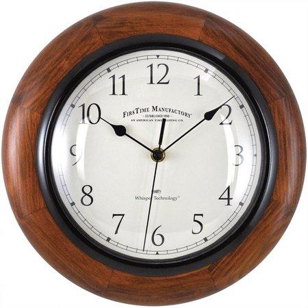 FirsTime 11'' Walnut Round Wall Clock