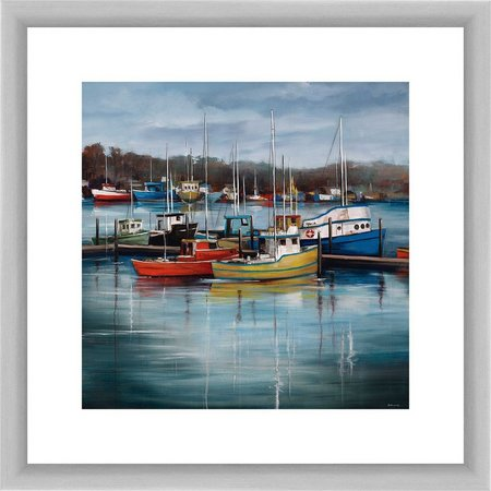 PTM Images Boats by the Dock Framed Wall