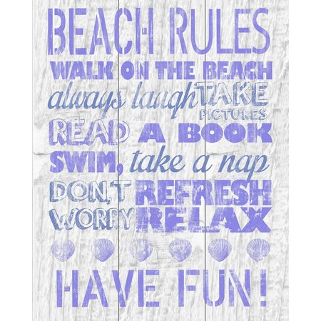 PTM Images Purple Beach Rules Canvas Art