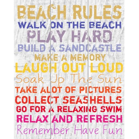 PTM Images Colorful Beach Rules Canvas Art