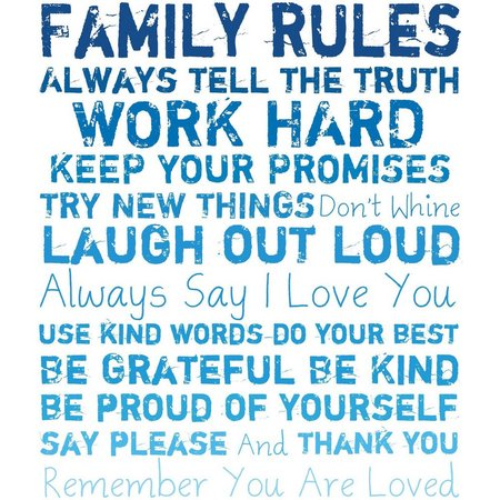 PTM Images 20'' Family Rules White Canvas Wall