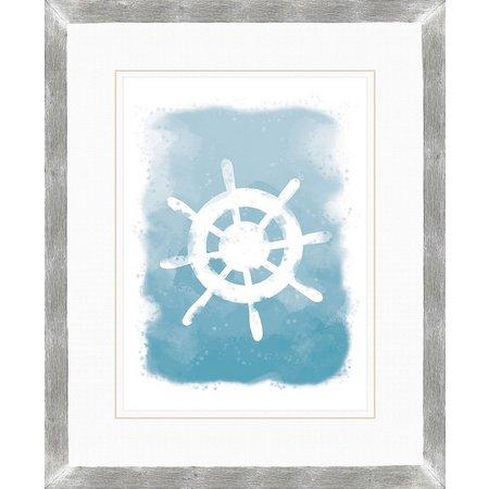 PTM Images Nautical Ship Wheel Watercolor Wall Art