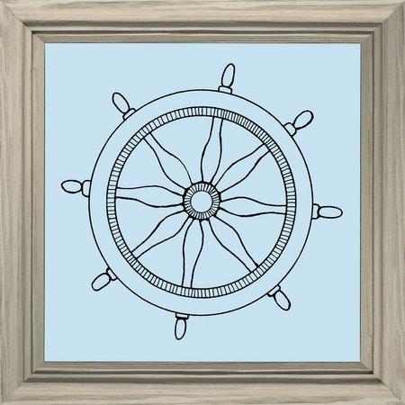 PTM Images Blue Boat Wheel Framed Wall Art