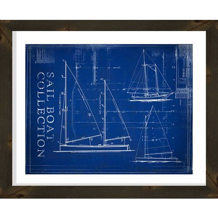 PTM Images Sailboat Collection Blueprint Wall Art