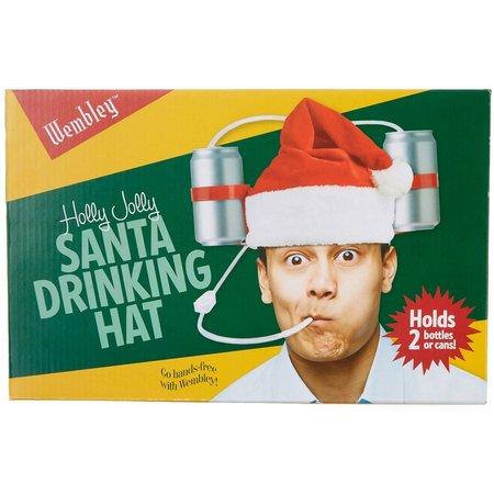 Wembley Mens Holly Jolly Santa Drinking Hat