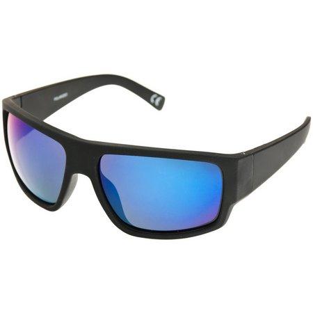Reel Legends Mens Black & Blue Wrap Sunglasses