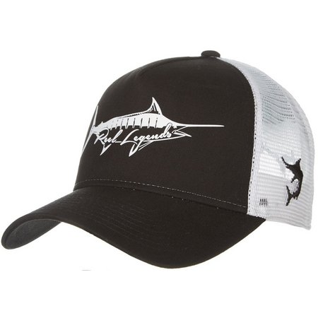 Reel Legends Mens Dark Marlin Logo Trucker Hat